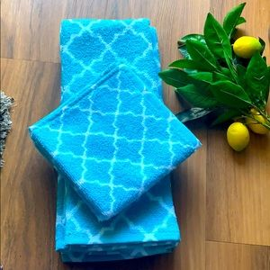 JCPenney turquoise Trellis hand towels & washcloth